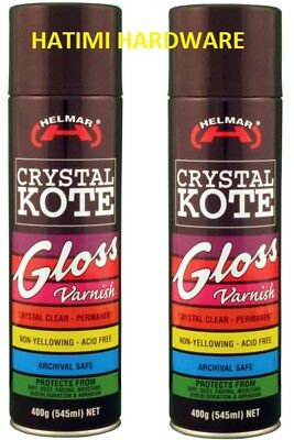 2X Helmar Crystal Kote Coating Gloss Varnish Permanent Acid Free Coating 400G