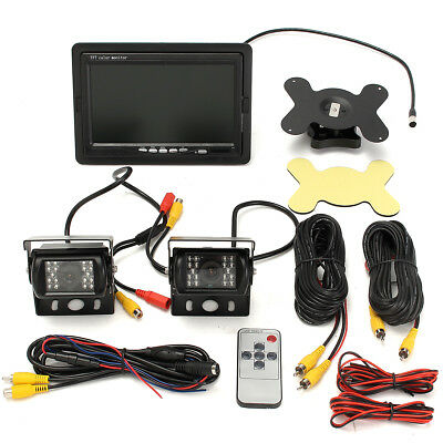 7'' Car Bus Truck Rear View LCD Monitor + Night Vision Reverse Backup Camera Kit