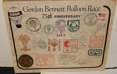 Gordon Bennett 75Th Anniversary Balloon Race Full Autographed Award 1981