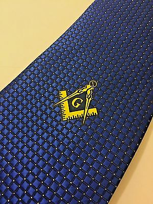 Blue Masonic Woven Tie Freemasons Square and compass Master Necktie Suit Gift