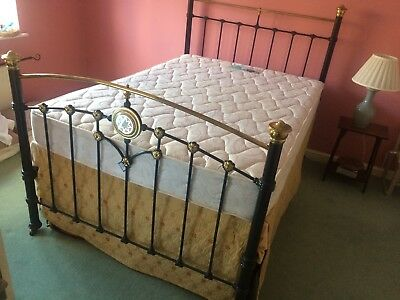 """Antique brass and iron bed, 4'6""""with mattress, skirt and matress protector."""