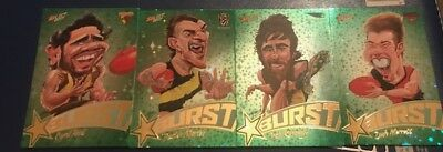 2017 AFL Select Footy Stars GREEN STARBURST CARICATURE Cards LOTS AVAILABLE