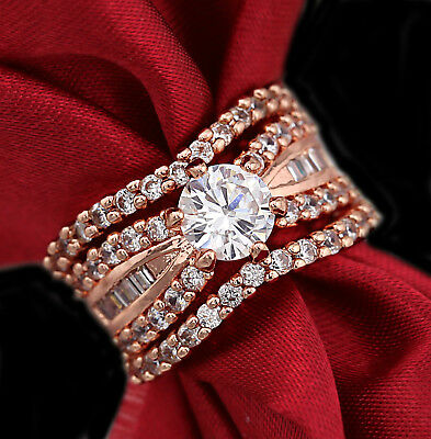 18K Rose Gold Filled 3Way Luxury Lab Diamond Wedding Bridal Women Solid Ring Set