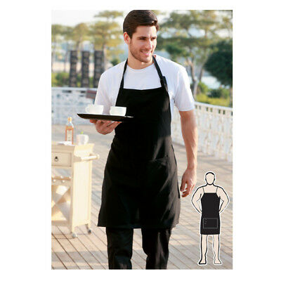 Hospitality Cotton Drill Full Bib Apron with Pocket Waitress Waiter KitchenChef