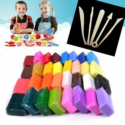 Reelva 32 Colours Oven Bake Polymer Clay with 5 Modelling Moulding Sculpey Tool