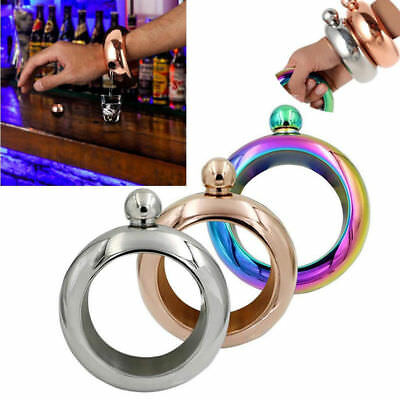 3.5oz Stainless Steel Jug Bracelet Alcohol Liquor Whiskey Hip Flask Bangle Loud