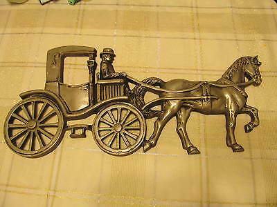 Vintage Antique Collectible Cast Aluminum Horse Carriage House Plaque Letter S