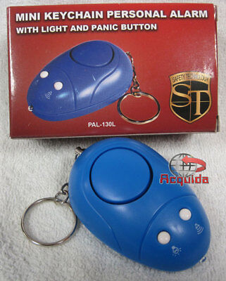 New Mini Keychain Personal Alarm with Light and Panic/Test Button BLUE