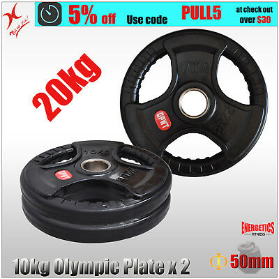 10kg x 2 Rubber Coated Olympic Weight Plate - Triple Handle Ez Grip - Total 20kg