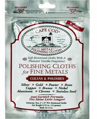 2pc CAPE COD Fine Metal Polishing Cloths, Polish Silver, Gold Jewellery, watches
