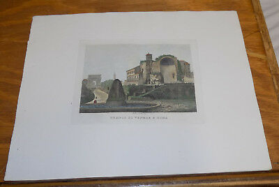 c1830s Antique COLOR Print///TEMPLE OF VENUS AND ROMA, ROME, ITALY