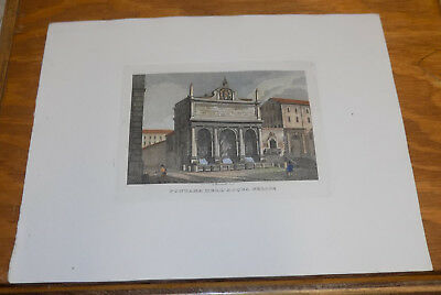 c1830s Antique COLOR Print///THE FOUNTAIN OF MOSES, ROME, ITALY