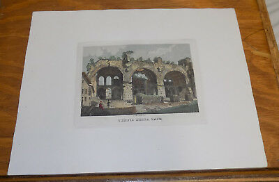 c1830s Antique COLOR Print///TEMPLE OF PEACE, ROME, ITALY