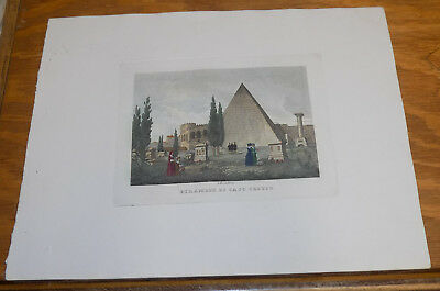 c1830s Antique COLOR Print///PYRAMID OF CESTIUS, ROME, ITALY