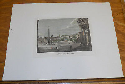c1830s Antique COLOR Print///ANCIENT PEOPLES SQUARE, ROME, ITALY