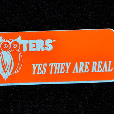 YES THEY ARE REAL - Hooters Girl Uniform Orange Name Tag Pin Badge A+ condition