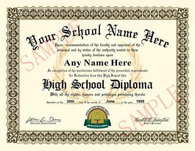 High School Diploma - REALISTIC LOOKING! >>>FREE PERSONALIZATION<< Novelty USA