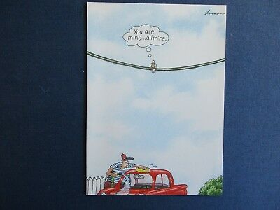 """Vintage /""""The FAR SIDE/"""" 1985 Blank Inside Card /""""I 8 NY Dino in Car/""""   NEW MINT"""