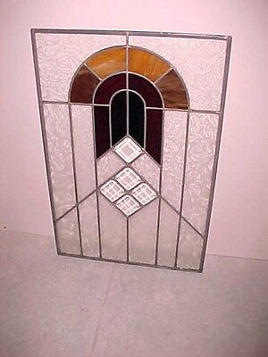 Vintage Stained Beveled Glass Church Window Panel Red & Amber Colors