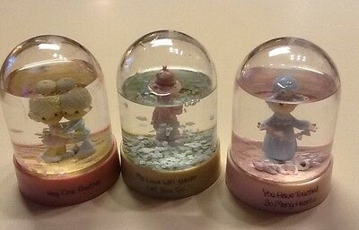 Precious Moments Lot of 3 Snow Globes.