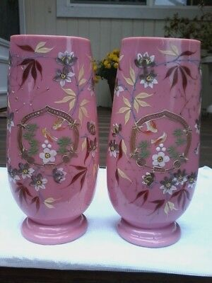 Large Pair Antique Victorian Pink Lined Hand Painted Vases Numbered