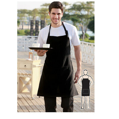 Hospitality Light Weight Full Bib Apron with Pocket Chef Waiter Waitress BBQ PUB