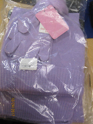 NEW Berkshire Fashions Girls Solid 3PC Winter Set Hat Gloves Scarf OS Purple