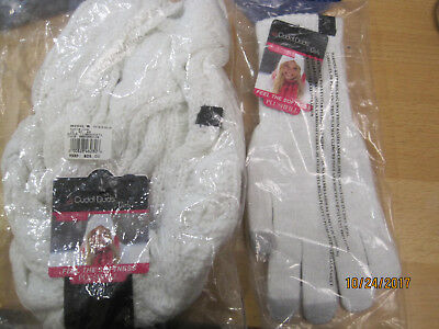 NEW Cuddl Duds Girls Soft Texting Sparkle Gloves AND Scarf Marshmallow OS 7-14