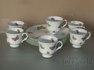 6 Crown Staffordshire Bone China BUTTERFLY Scalloped Edge Snack Plates & Cups