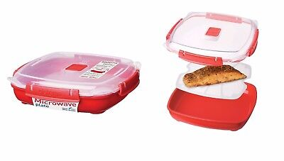 880ML Multipurpose Red Plastic Large Microwave Plate w/ Removable Steaming Tray