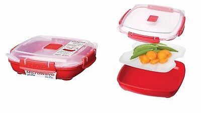 440ML Multipurpose Red Plastic Large Microwave Plate w/ Removable Steaming Tray