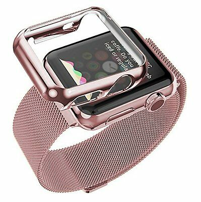 Plated Case Band Strap Accessory Strap for Apple Watch iWatch Rose Gold 38mm