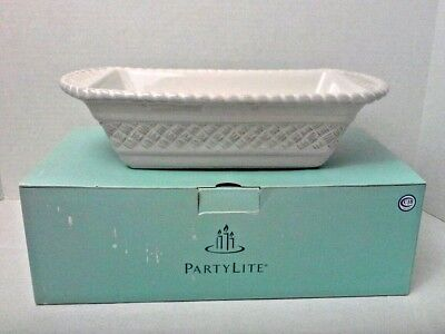 """Partylite Loaf Pan White Ceramic Baking Bread 9"""" x 5"""" Two Sisters Gourmet"""