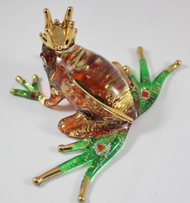 Brown Green Glass Frog Crown Figurine Animal Hand Blown Amphibian Handmade Craft