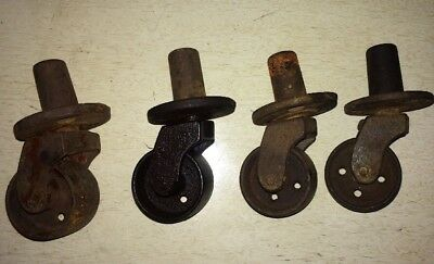 Set of 4 Antique Cast Iron Furniture Casters Wheels Marked A. Hammacher NY