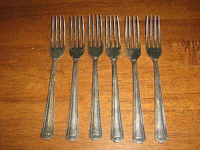 Vintgage Six Grosvenor Delphic Design Silverplate Entree Fork's.to