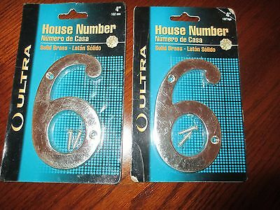 "Lot of (2) Ultra Hardware 4"" Solid Brass House Number!  6 & 9!  six & nine!  NIP"