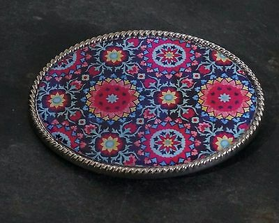Handmade Belt Buckle Patterned Floral Flowers In Pinks And Blues