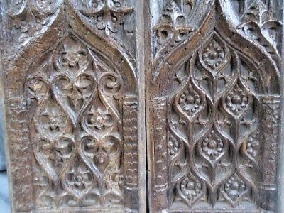 Rare Pair Of 16Th  Century Oak Carved Medieval Gothic Panels