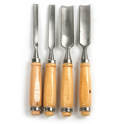 Carving Set Wood gouge Chisel Woodworking Tools Handle Hand 6/12/18/24mm 4Pcs