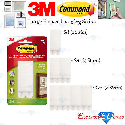 3M COMMAND Large Picture Photo Frame Poster Canvas Hanging Strips - Damage free