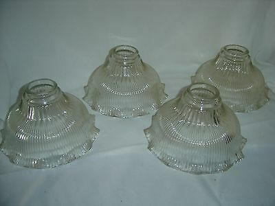 4 Antique Light Globes Ribbed & Ruffled Clear Glass Shades, Make Offer