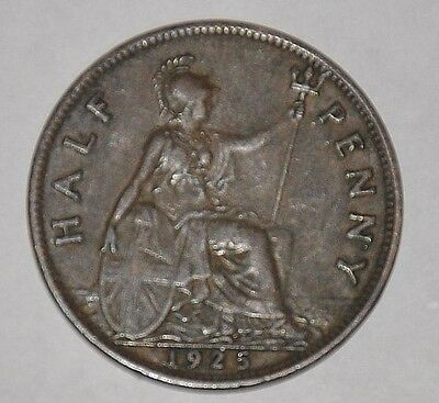 1925 Great Britain Half Penny, 1/2 Cent, UK, England