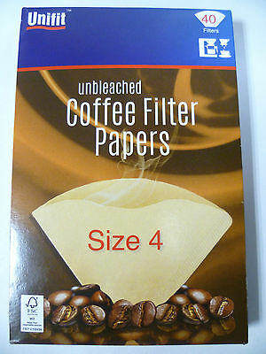 80 UNBLEACHED COFFEE FILTER PAPERS SIZE 4 (1 x 4) MACHINE / FILTER CONE 81004X2