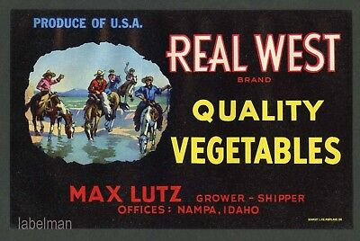 REAL WEST, Nampa Idaho Vegetable Crate Label, Cowboy  ***AN ORIGINAL LABEL***