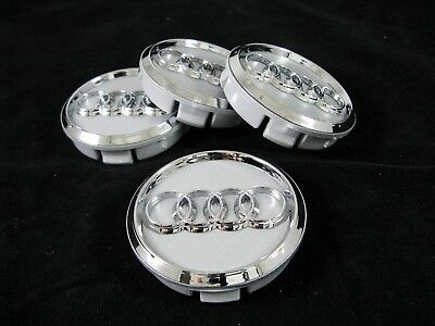 4 Pieces Set 3D Center Hub Caps For AUDI Alloy Wheel Rims  60/56 mm. Silver New