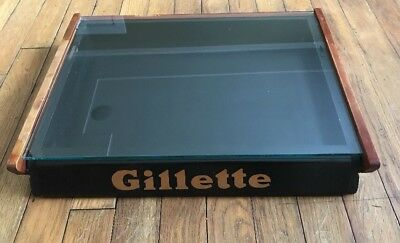 Vintage Wood And Glass Gillette Store Counter Top Display Case USA Collectible