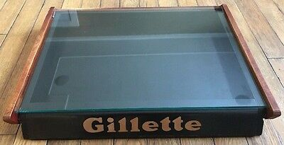 Vintage Gillette Wood And Glass Razor Display Case USA Collectible