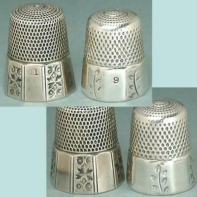 2 Antique Sterling Silver Thimbles by Simons Bros.* Circa 1880s