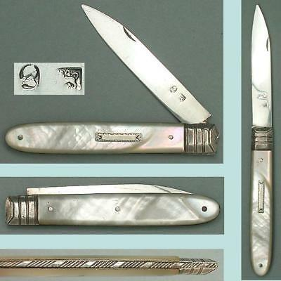 Antique Mother Of Pearl & Sterling Silver Folding Fruit Knife * Circa 1800-20